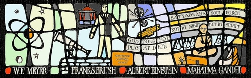 Window Panel Seven - Meyer, Brush, Einstein and Gandhi